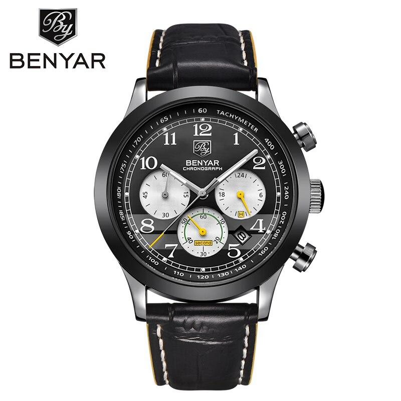 BENYAR Chronograph Mens Watches Waterproof Sport Quartz Military Watch Male Fashion Luxury Brand Date erkek kol saati with box benyar sport chronograph fashion watch