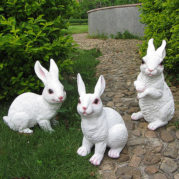 Big Size Resin Garden Rabbit Rornaments Crafts Garden Sculpture Bug Bunny  Simulation Animal Artificial Rabbit Decor