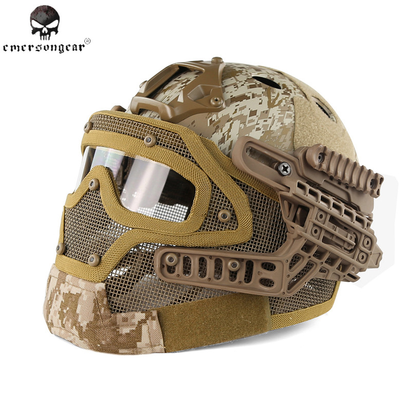 Emerson G4 System Tactical PJ Helmet Fullface With Protective Goggle and Mesh Face Mask Airsoft Helmets for Military War Game protective outdoor war game military tactical full face shield mask black
