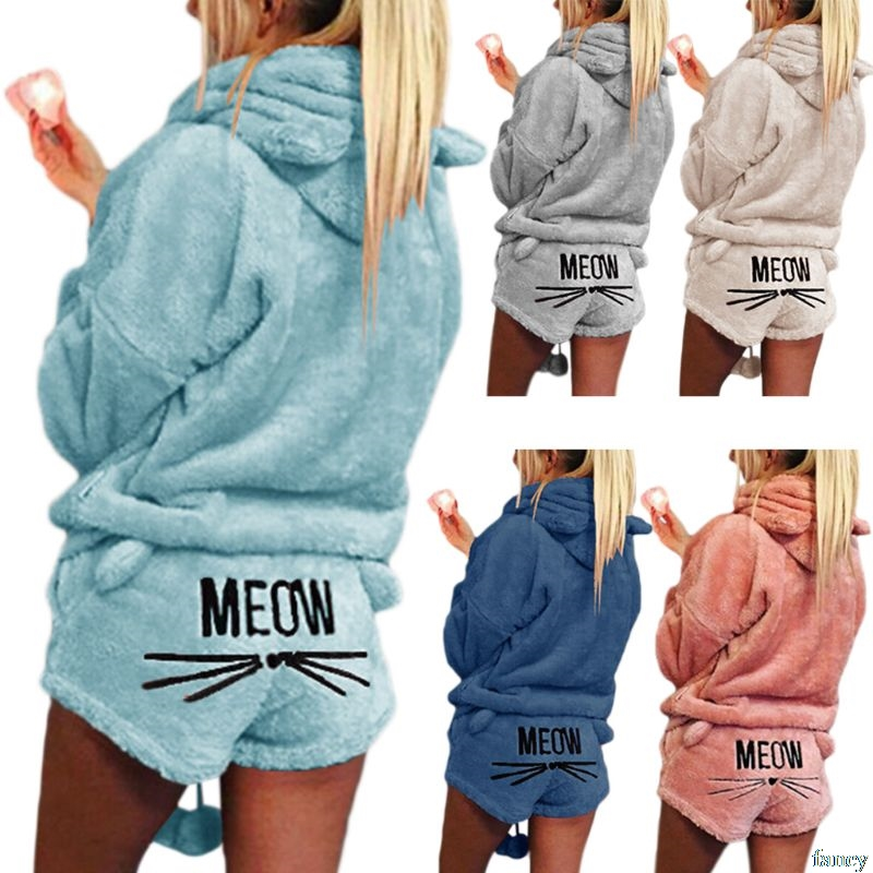 Women Girls Plus Size Winter Thicken   Pajamas     Set   Cute Cat Meow Embroidered Short Pants Long Sleeve Hooded Ears Sweatshirt Warm