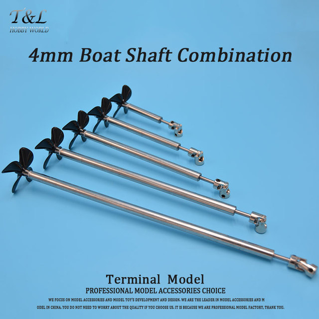 4mm Boat Shaft+Four Blades Propeller+Cardan Joint+Stainless Steel Shaft Sleeve+Gasket For RC Eletric Boat Bait Fishing Boat