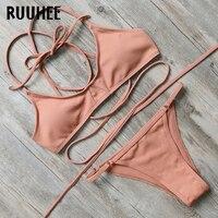 RUUHEE Brand Bikini Swimwear Women Swimsuit Soild Bathing Suit Sexy Strap Beachwear 2017 Bikini Set Maillot