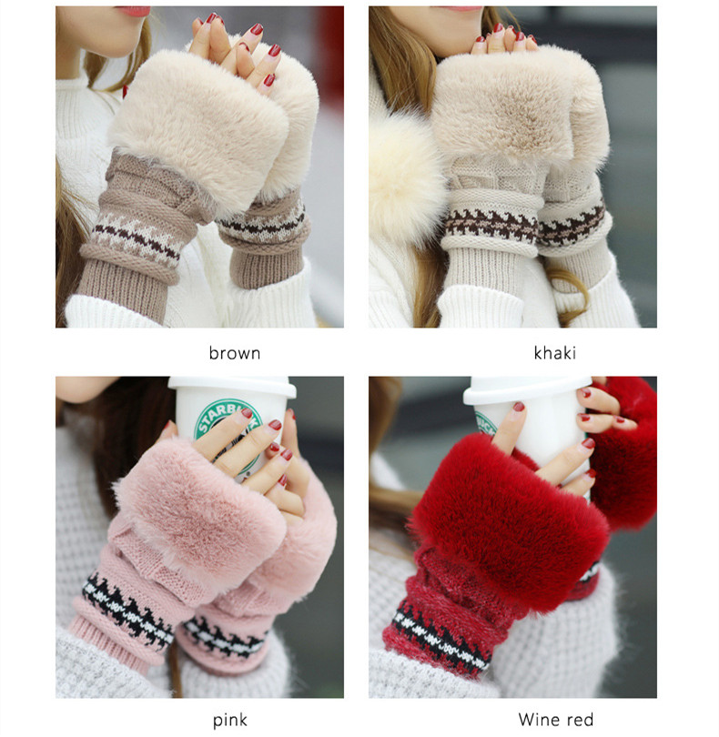 New Autumn And Winter Korean Version Of The Warm Women Hat Gloves Set Knitted Hair Ball Two Sets Of Ladies Thickening HC37 (18)