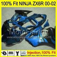 8Gifts Injection mold Body For KAWASAKI NINJA ZX 6R 00 02 INJ1 ZX 6R ZX6R 00 01 02 ZX636 636 2000 2001 2002 Fairing blue black