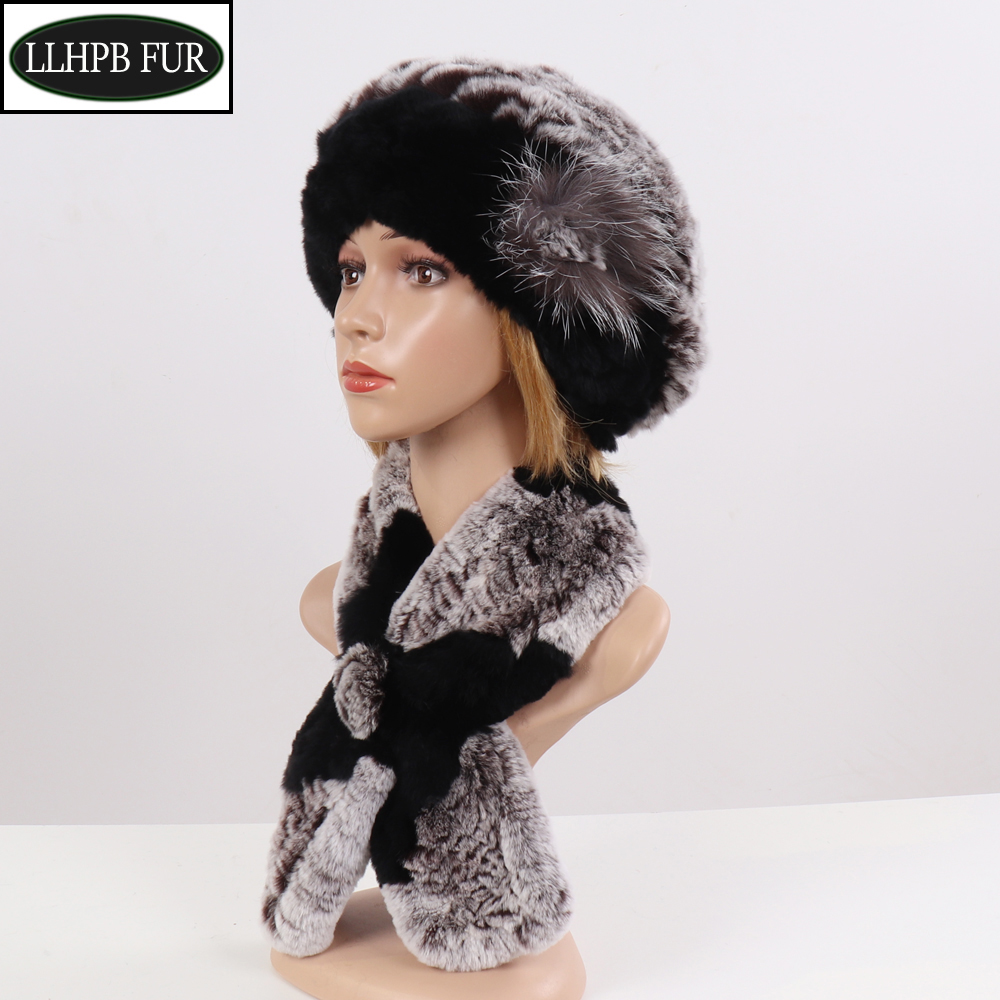 2019 New Winter Women Warm Real Rex Rabbit Fur Hat With Natural Rex Rabbit Fur Scarf 2 Pieces Sets Fashion Headgear And Muffler