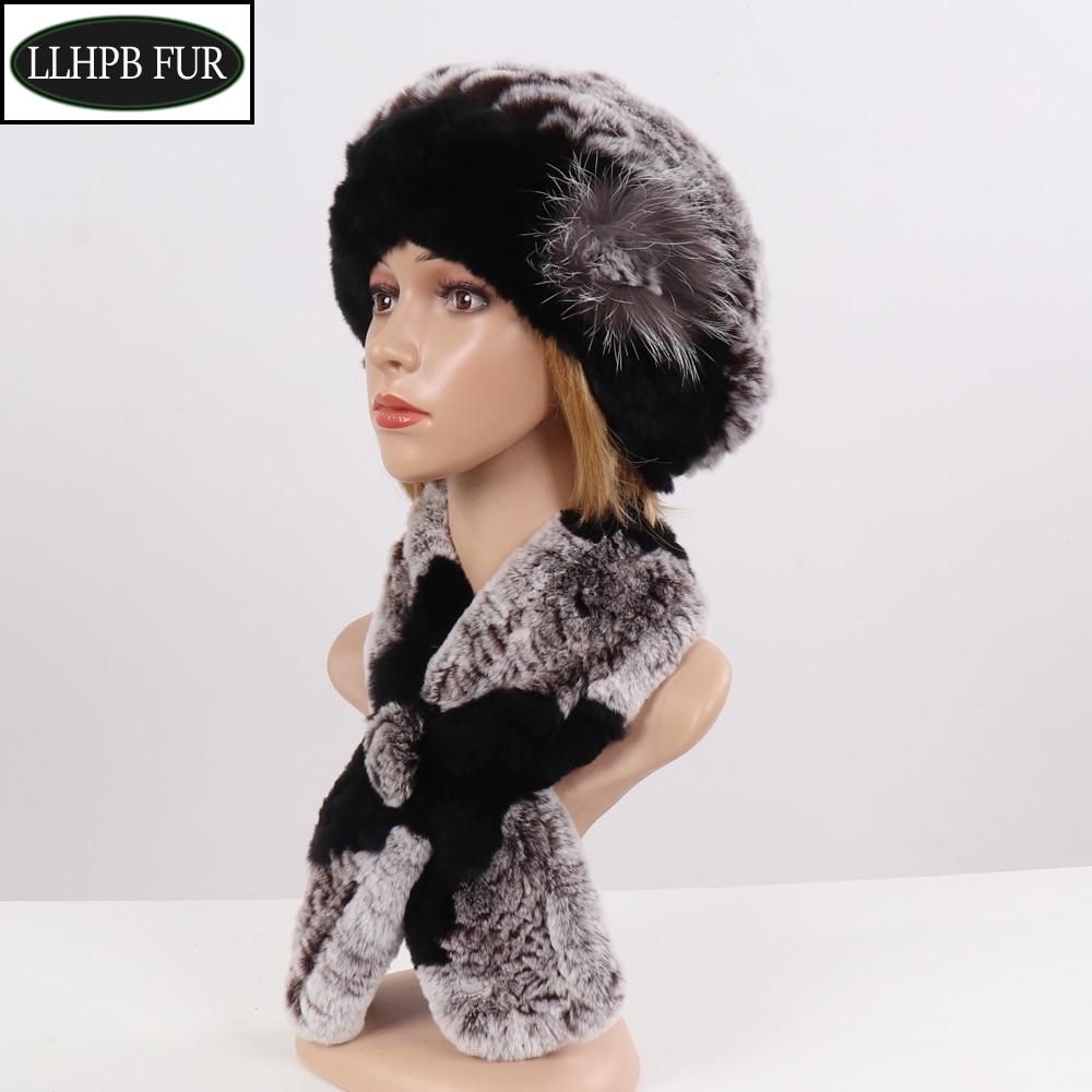 2019 New Winter Women Warm Real Rex Rabbit Fur Hat With Natural Rex Rabbit Fur Scarf 2 Pieces Sets Fashion Headgear And Muffler