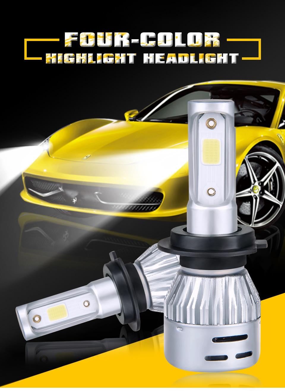 Aceersun H4 LED H7 Car Headlight H1 H8 H9 9005 9006 8000lm 4300K 6500K MINI 72W Auto Hi Lo Beam 12V And 5V USB Small stage light (1)