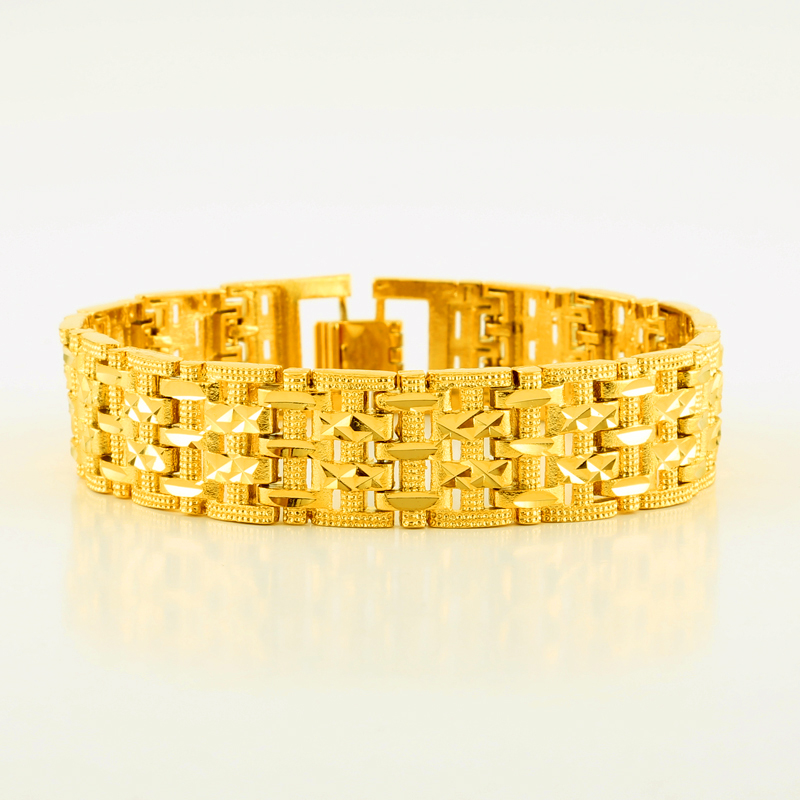 JHplated Mens Bracelet Gold Color & Brass,Wide Bangle for Women,Hand Chain Jewelry Ethiopian/Arabia