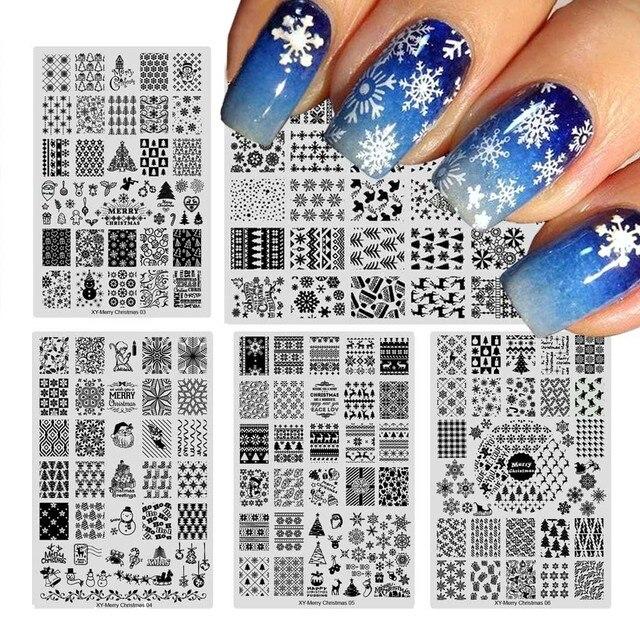 1pcs New Year Nail Stamping Plates Image Christmas Snowflake ...