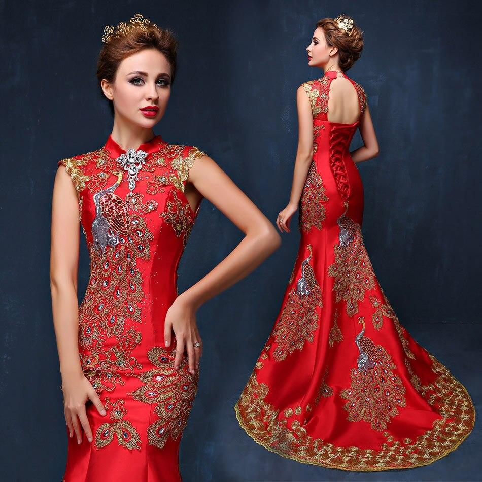 Роскошный синий и красный цвета вышитые Китайский вечернее платье Cheongsam невесты свадебное Qipao Русалка хост Платья Восточный Qi Pao
