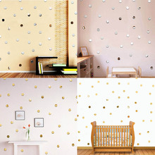 100 Pcs/pack Mode Lingkaran Mosaik Cermin Dinding Cermin 3D Decal Sticker Art DIY Acrylic 2x2 cm Kamar Decal dekorasi Baru Kedatangan(China)