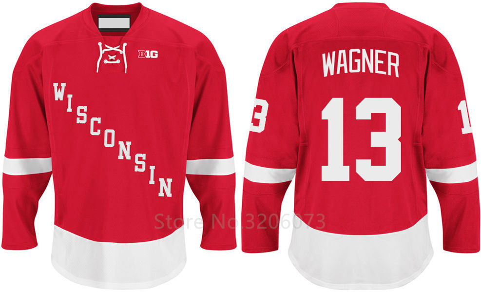 Wisconsin Badgers  13 Ryan Wagner Red College Hockey Jersey ... ab6d743cbef