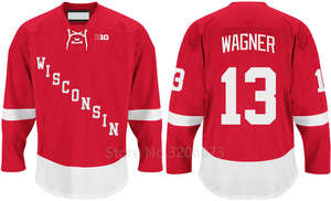 Wisconsin Badgers  13 Ryan Wagner Red College Hockey Jersey Embroidery  Stitched Customize any number and name Jerseys b7a719afd