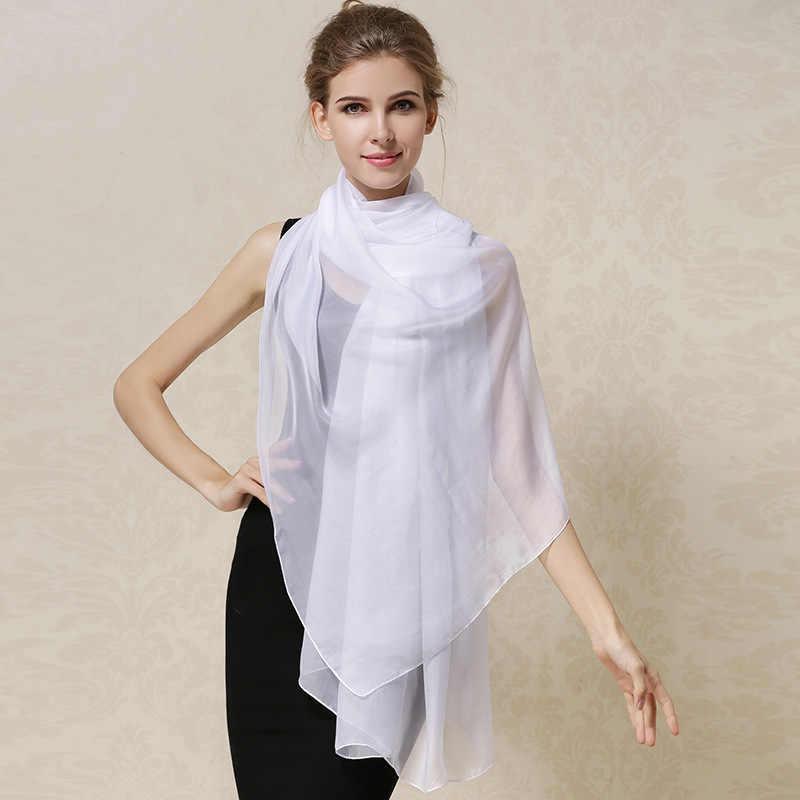 DANKEYISI 女性 100% 天然シルクスカーフショール女性の純粋な絹のスカーフラップ無地プラスサイズショールロングビーチカバーアップ