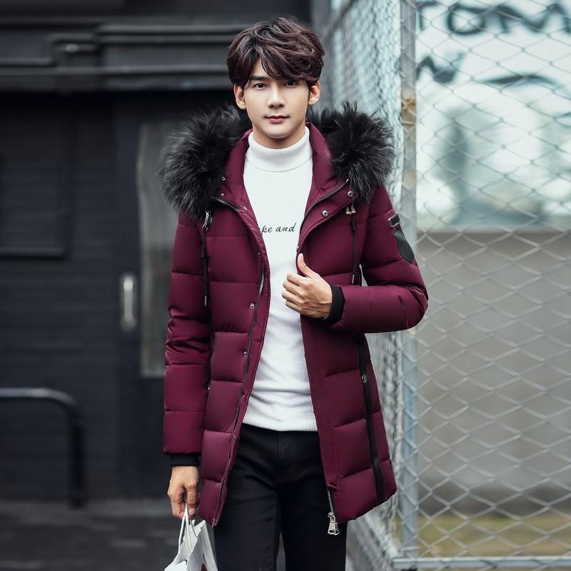 2018 новые длинные может выдержать-20 градусов зимняя куртка Для мужчин большой натуральный меховой воротник с капюшоном утка вниз куртка бол...