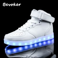 Bevoker High Top Men USB Rechargeable Luminous LED Light Up Shoes 7 Colors Flashing Casual Glowing