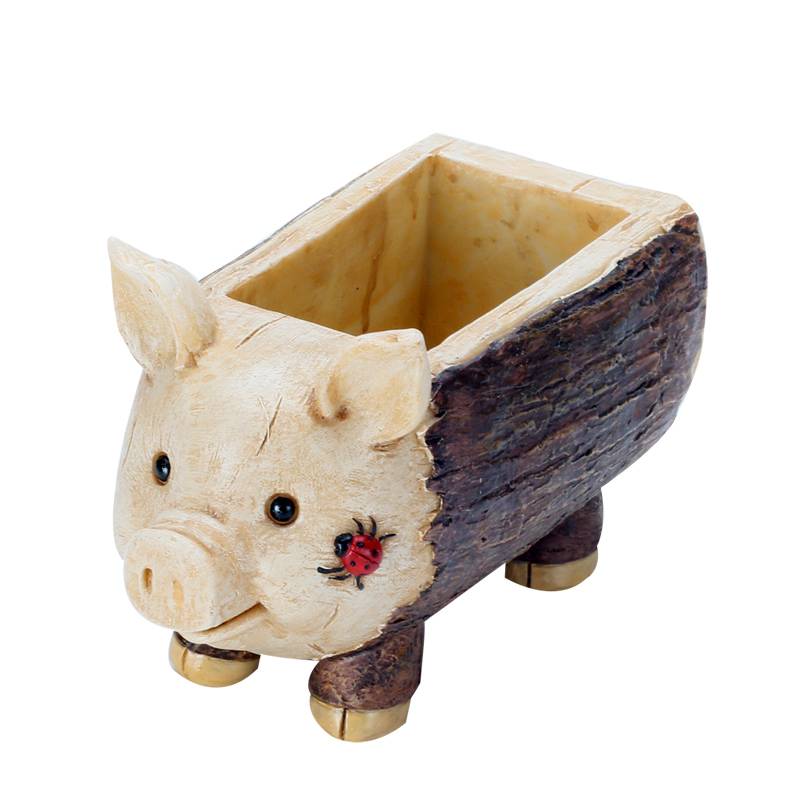 Image 5 - Roogo Creative Pig Design Flowerpot Resin Wood Flower Pots Micro Landscape Ornaments Planter for Home Indoor-in Flower Pots & Planters from Home & Garden