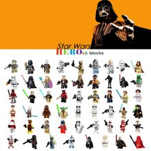 1pc Star Wars trooper Darth Vader Han Solo Building Blocks Jedi Yoda Obi Wan Boba Fett Figure Bricks Toys gift Compatible Legoed(China)