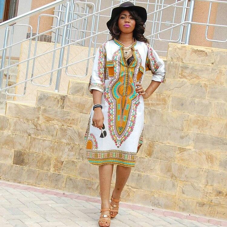 Africaine Traditional Dress Women Vintage Geometric print Dress Women Summe  plus size Casual Loose dresses 6b30c1c1fc76