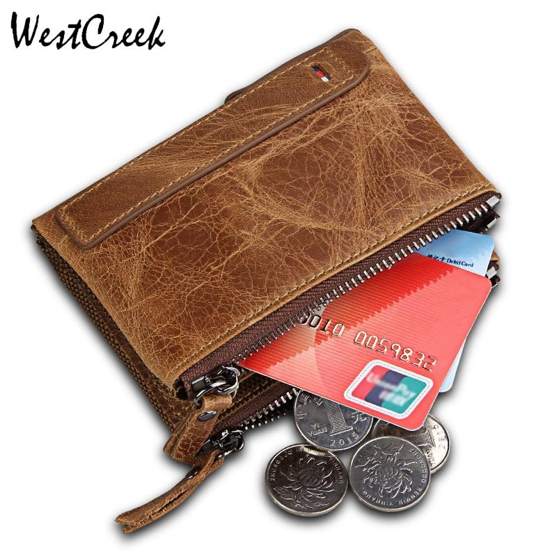 WESTCREEK 브랜드 패션 크레이지 호스 정품 가죽 더블 - 지갑