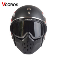 VCOROS vintage Detachable Goggles And Mouth Filter retro mask Half Open Face Motorcycle Helmets masks Ski Skate cosplay goggles