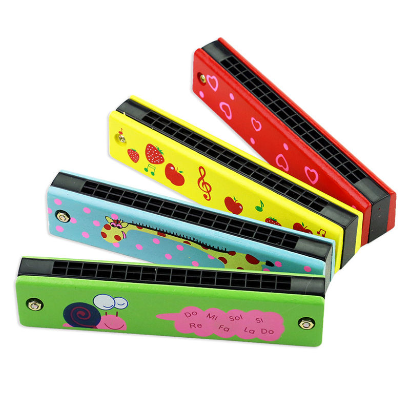 Professional 16 Hole Harmonica for Beginners 5 Inches Wooden Educational Baby Kids Children Harmonica Toy Musical Instrument(China)