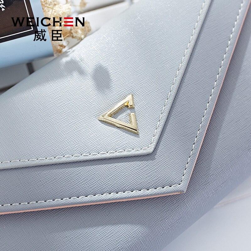 WEICHEN HOT géométrique enveloppe portefeuille femmes marque Designer femme portefeuille porte-carte téléphone monnaie poche dames sac à main de haute qualité 4