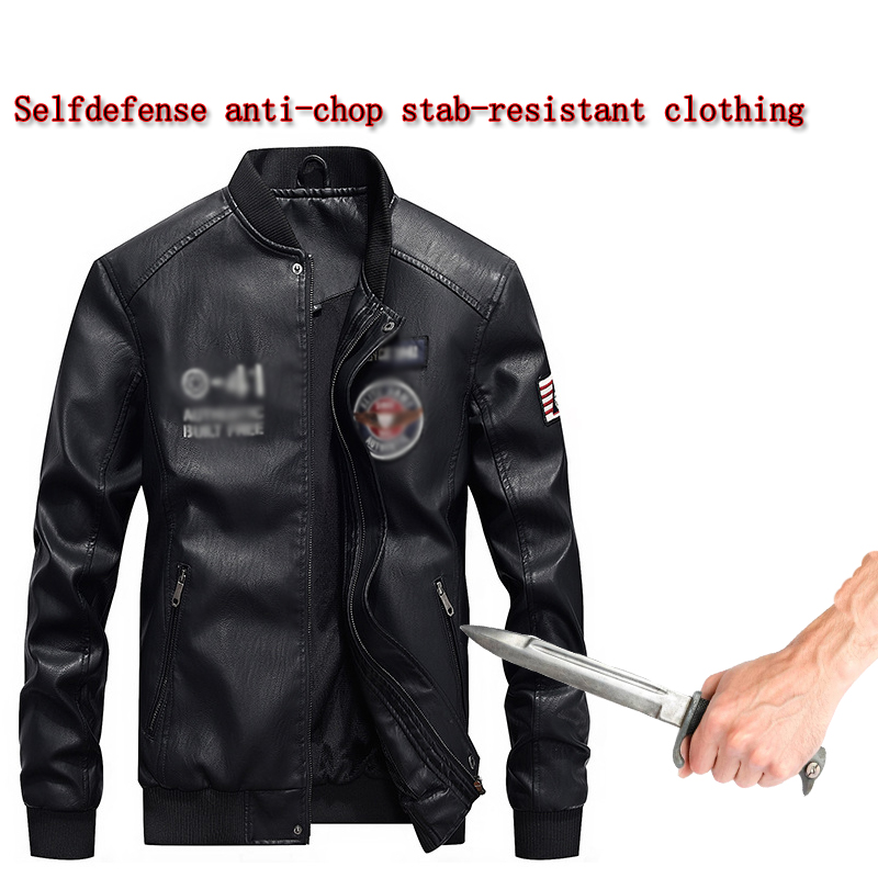 Self-defense Anti-cutting Stab-resistant PU Leather Men Jacket Stand Collar Chinese Style Invisible Safety Protective Clothing