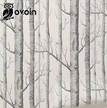 Береза Дерево Черный Белый 3D Тиснением Леса Обои для Стен, 'х 20.5 «Рулонной Бумаги