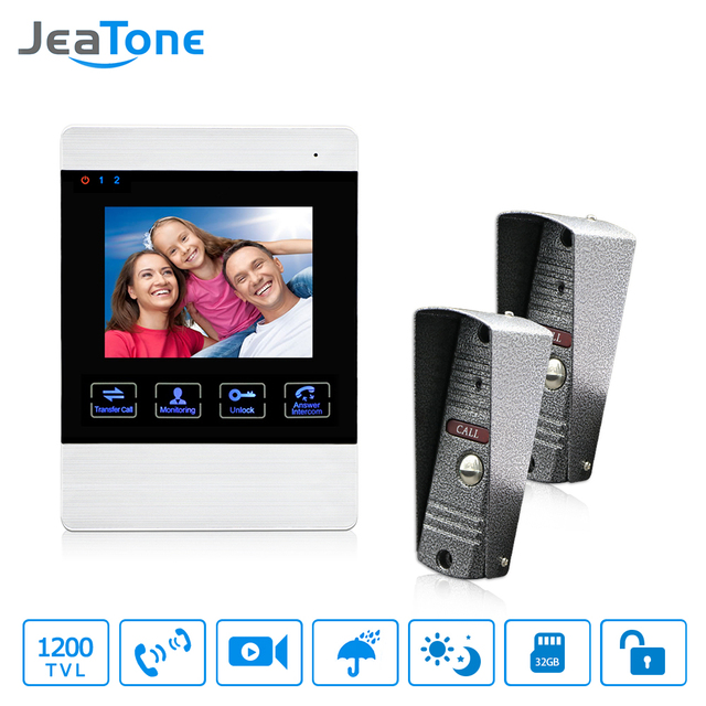 Jeatone 1200tvl Wired Door Bell 1200tvl Front Door Camera Video
