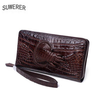 2019 New cowhide men genuine leather bags Embossed Crocodile pattern Fashion luxury men clutch bag big capacity men wallets