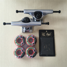 2016 Free Shipping Skateboard Parts Blank Aluminum 5.25″ Skateboard Trucks And Girl PU Skate Wheels with Royal Riser Pads