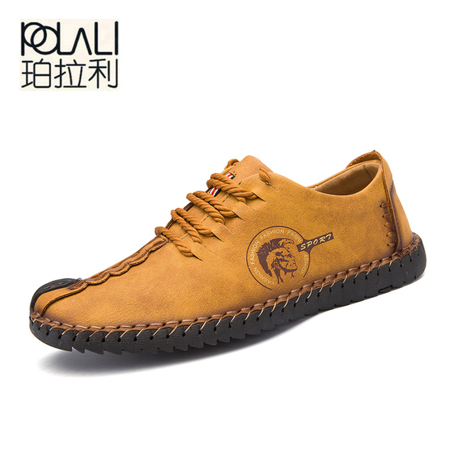 POLALI 2018 Novos Sapatos Casuais Confortáveis Mocassins Homens Sapatos de Qualidade Sapatos De Couro de Divisão Dos Homens Apartamentos Sapatos Mocassins Venda Quente