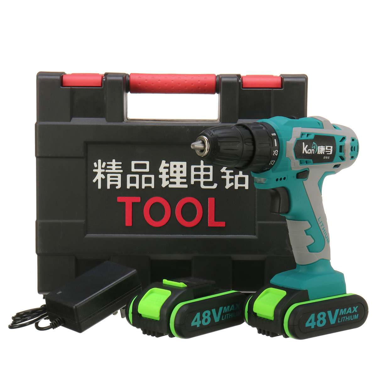 48V Electric Hammer Cordless Drill High/Low Speed W/ 2 Battery Woodworking