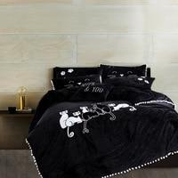 Зимние теплые Черный и белый Cat 4 шт. Постельное бельё утолщаются Набор пододеяльников для пуховых одеял Наборы для ухода за кожей Queen King Разм