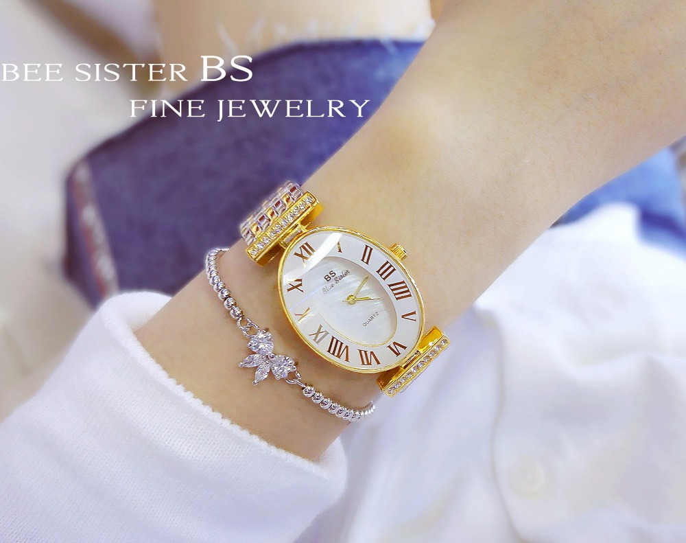 New Fashion Women Oval Watch Stylish Women Stainless Steel Watch Luxury Sparkly Crystal Gold Shinning Diomand Rhinestone Bangle