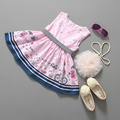 Summer Fashion Girls Dress Pink Color Sleeveless Cotton Print Dress For Cute Girls O-neck Casual Knee-length For Kids