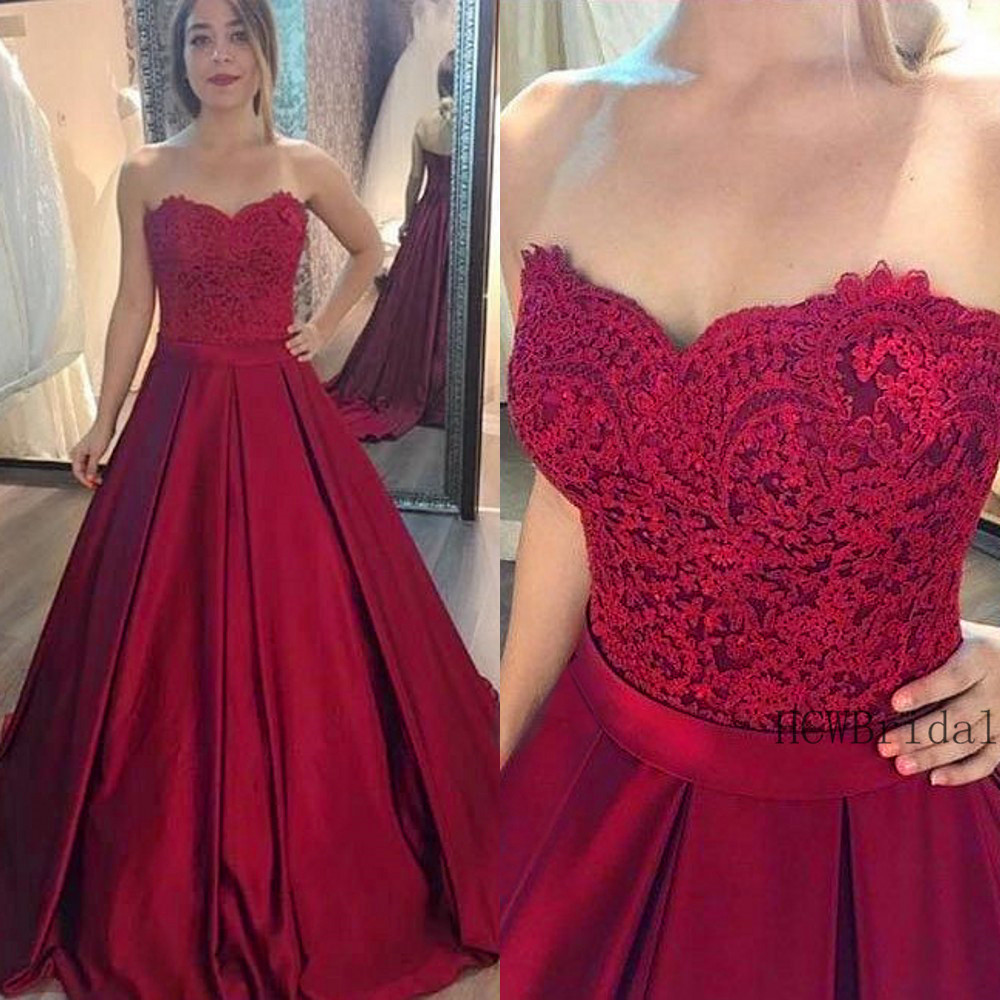 Elegant Burgundy Satin Long Formal   Evening     Dress   Strapless A Line Floor Length Custom Made Prom Gown 2019 Vestido De Fiesta