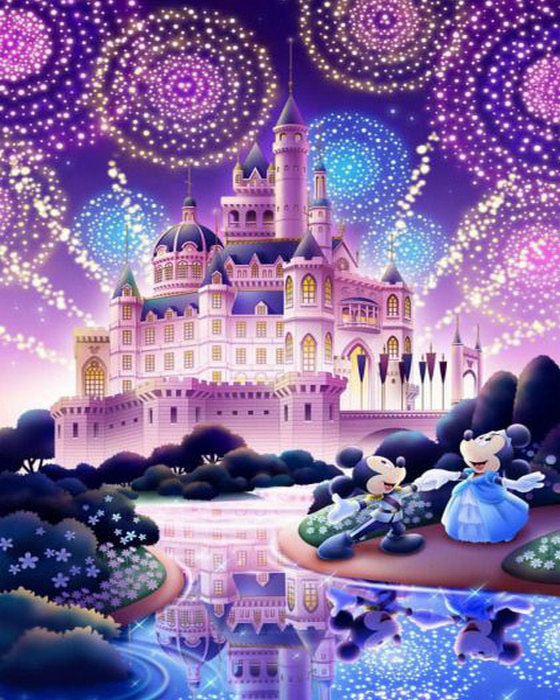 3D DIY Diamond Painting Cross Stitch cartoon castle icon rhinestones diamond Embroidery mouse picture painting wall decor