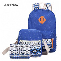 2017 New Fashion Canvas Lightweight Bookbags 3 Sets Of Printing Backpack For Teenage Girls Bookbags Women