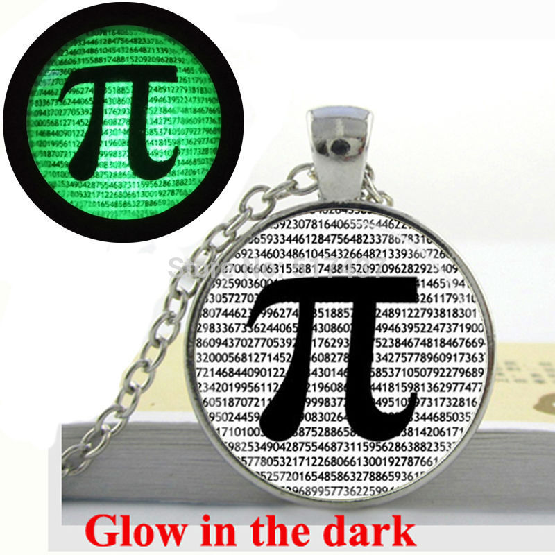 Glow in the dark Necklace PI Necklace Math Jewelry Teachers, Science, Mathematics glass art photo necklace Glowing Jewelry