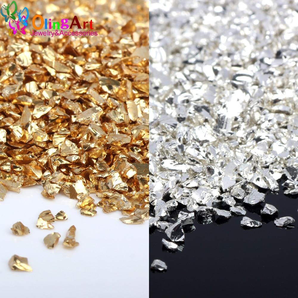 Free shipping OlingArt 45g/lot Multi-color mixing Nail Art Crushed Glass Nail Stones irregular Decoration DIY Necklace pendant(China)