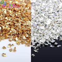 OlingArt 45g/lot Gold Silver mixing Nail Art Crushed Glass Nail Stones irregular Rhinestone Decoration DIY Necklace pendant
