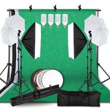 Fotoğraf fotoğraf stüdyosu Softbox aydınlatma kiti ile 2.6x3M arka plan çerçevesi 3 adet arka planında Tripod standı reflektör kurulu şemsiye