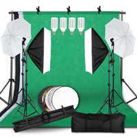 Kit de iluminación ajustable tamaño máximo 2,6 M x 3M sistema de soporte de fondo 3 colores tela de fondo Photo Studio Soft box Sets