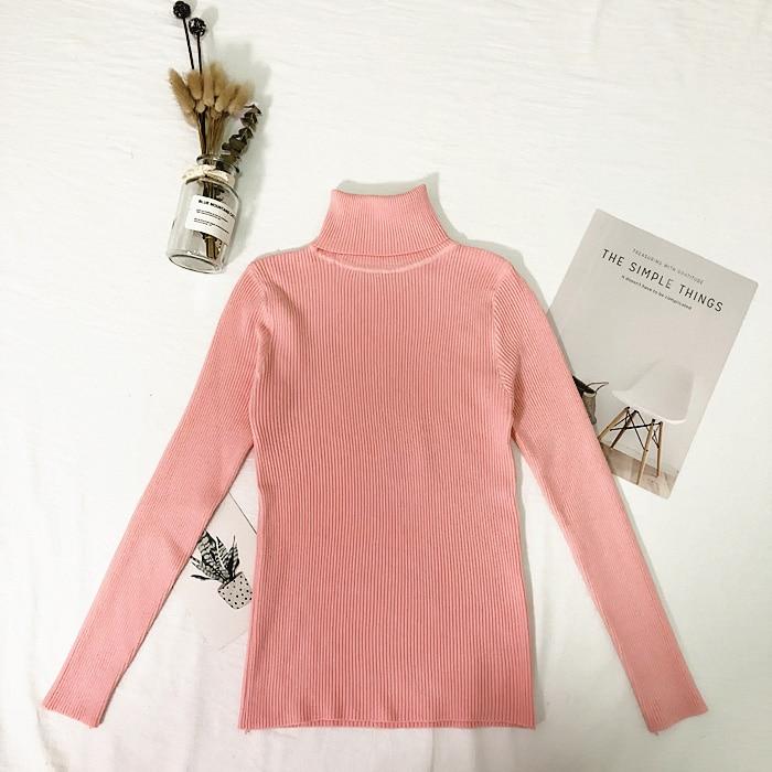 Женские свитера, зимние топы, водолазка, свитер для женщин, тонкий пуловер, джемпер, вязаный свитер, Pull Femme Hiver Truien Dames, новинка - Цвет: Розовый