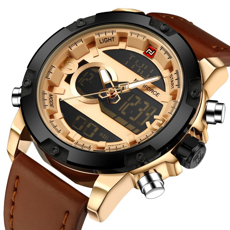 Prix pour Mens montres haut marque led numérique Double Affichage montre de sport hommes en cuir quartz montres étanches Relogio Masculino 2017