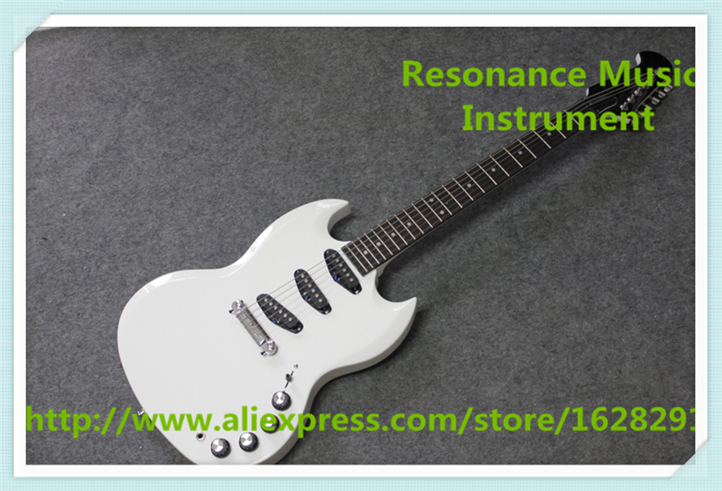 New Arrival Chinese Glossy White SG Electric Guitars With Mahogany Body and Neck Guitar For Sale top selling chinese sg 400 electric guitar zebra stripe finish guitars body