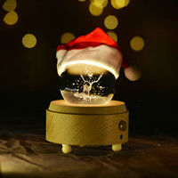Rotating Crystal Ball 3D LED Night Light Table Lamp Christmas Tree Dandelion Moon Bedroom Decorations Lover's Gifts IY804014