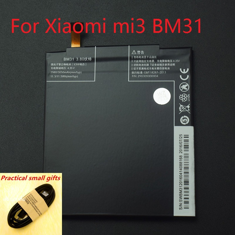 Free Shipping + High Capacity 3050mAh 100% The Original Mobile Phone Battery BM31 For Xiaomi 3 M3 Mi3 Replacement Batteries